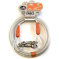 Pet Champion Large Reflective Tie Out Cable for Dogs Up to 90 Pound, 25 Feet