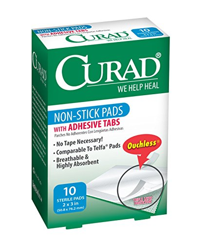 Curad Non-Stick Pads, 2 Inches X 3 Inches with Adhesive Tabs, 10 count (Pack of - Adhesive Inch Pads 3