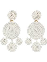 Womens Beaded Disc Chandelier Earrings