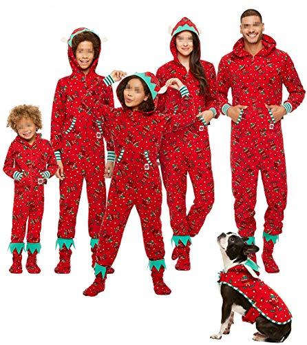 Family Matching Christmas Hoodie Jumpsuit Pajamas Sleepwear Deer Long Sleeve Sweatshirt Bodysuit Homewear Outfits (Dad/L, Red 1)