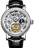 Men's Moonphase Watch Stainless Steel Automatic Mechanical Skeleton Dial Wristwatches