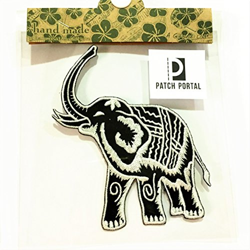Tribal Print Elephant Patch Embroidered Iron-On Applique for Backpacks Jeans Jackets T-Shirts Clothing