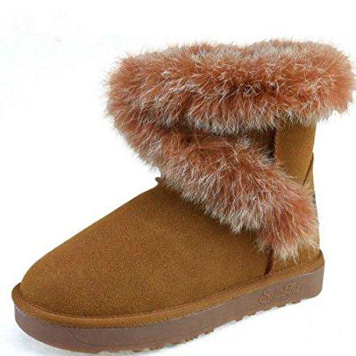 Dames Laarzen Dames Synthetisch Suède Bont Gevoerde Winter Warme Sneeuw Comfort Schoenen 5.5