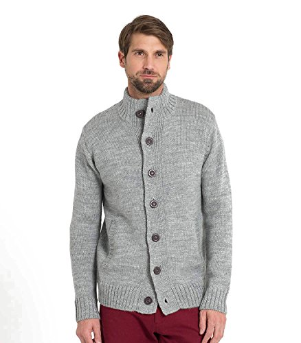 WoolOvers Strickjacke für den Alltag aus reiner Wolle mit Knöpfen für Herren Flannel Grey, S