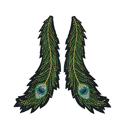 2 Pcs(1 Pair) Fashion Clothes Sweater Embroidered Wings diy Big Peacock Tail Lace Fabric Patch Affixed Accessories (Need Sew on, No glue) (Feathers 1pair) (Designs Embroidery Peacock)
