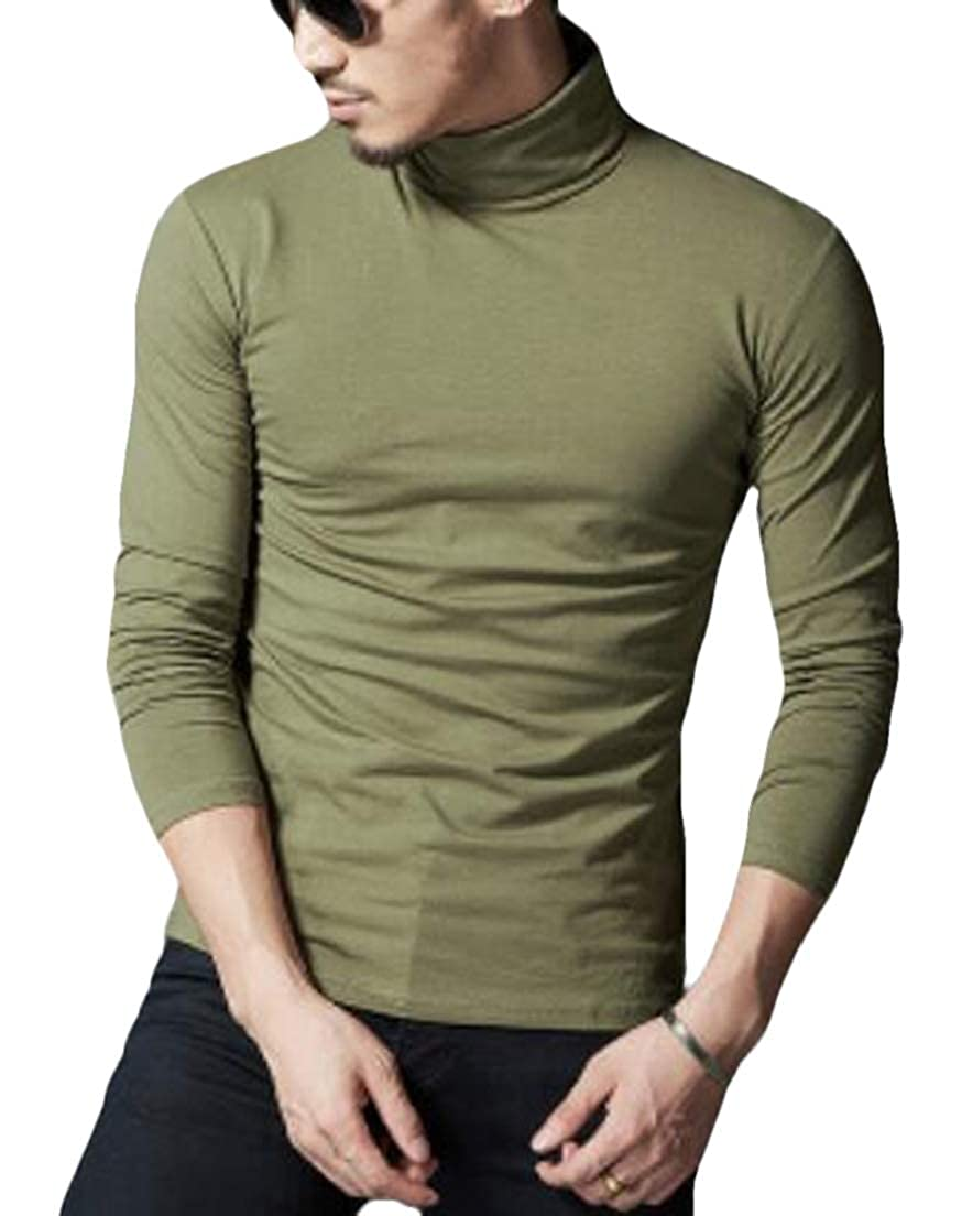 CRYYU Men Solid Long Sleeve Turtle Neck Pullover T-Shirt Tee Top