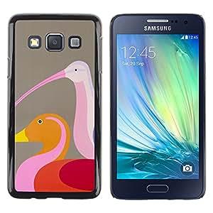 Shell-Star Arte & diseño plástico duro Fundas Cover Cubre Hard Case Cover para Samsung Galaxy A3 / SM-A300 ( Duck Birds Brown Pink Art Colorful )
