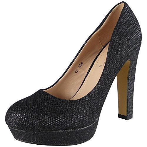 Damen Funkeln Hoch Hacke Plattform Party Gericht Schuhe Größe 36-41 Schwarz