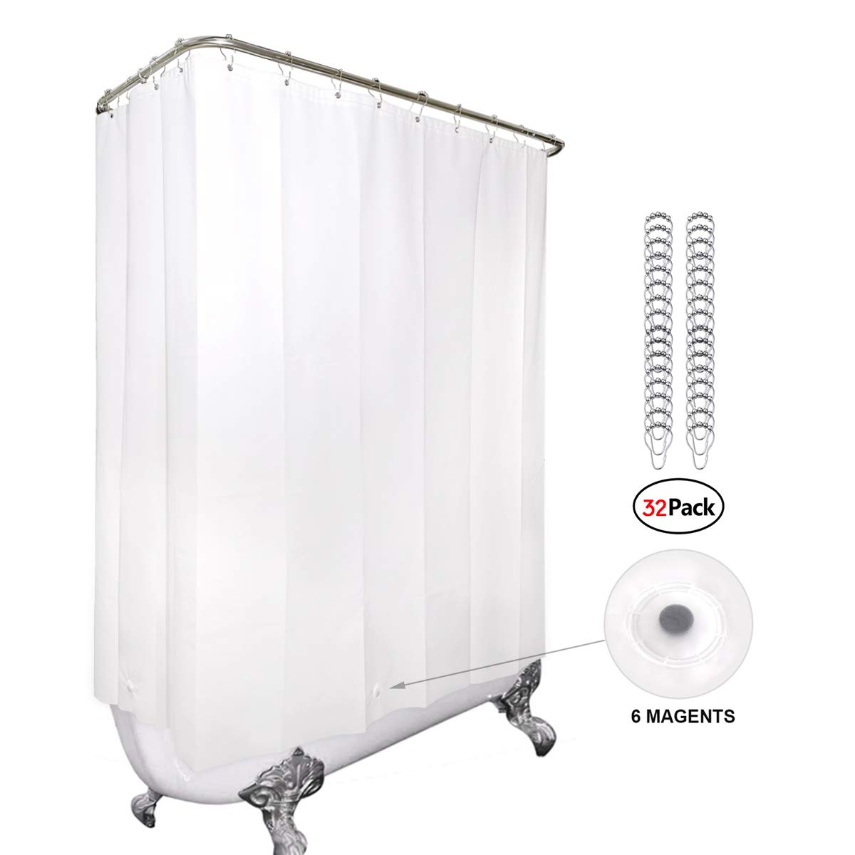 White All Around Shower Curtain 180x70 Inches with Magnets Clawfoot Tub PEVA Extra Wide Wrap Around Panel Set 32 Pack Shower Hooks Included Heavy Duty