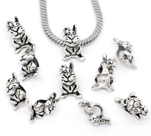 PEPPERLONELY Brand 30PC Antique Silver Rabbit/Bunny Charm Beads Fit European Bracelet 5/8 x 3/8 Inch (17MM x 10MM)