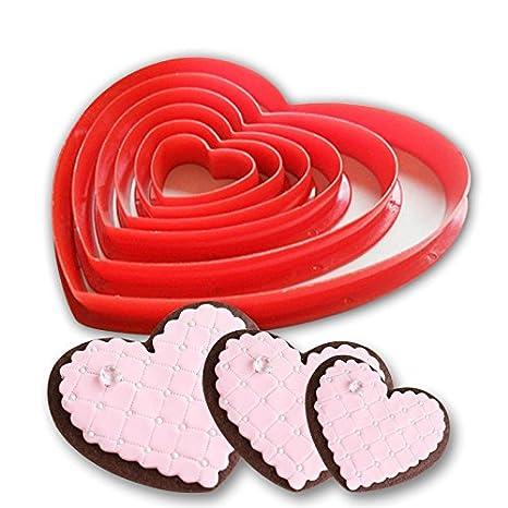 6pcs / set romote forma de corazón de la torta de la galleta molde de plástico de cupones cortador de galletas de azúcar decoración de tortas artesanales: ...