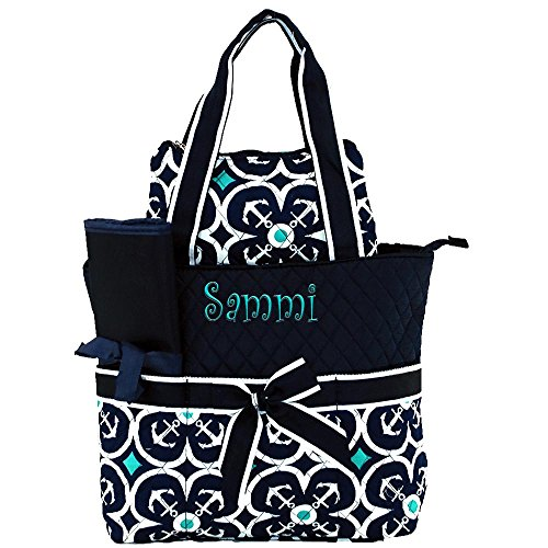 Personalized Navy Blue Anchor Infants 3 Piece Quilted Diaper