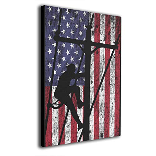 Kingsleyton Lineman American Flag Giclee Painting On Canvas Posters Prints Pictures Wall Art Living Room Home Decor Wooden Framed Stretched Ready to Hang