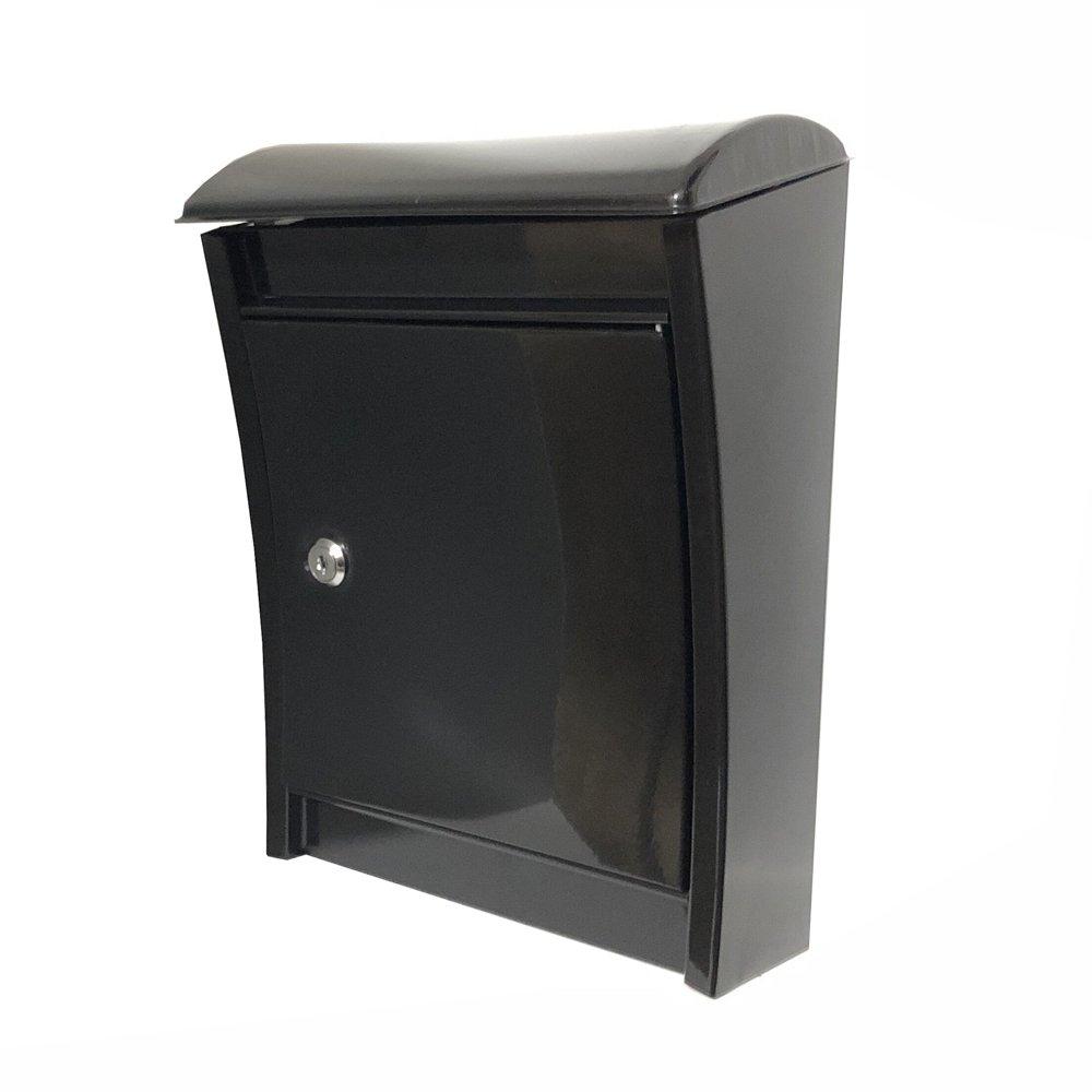 ALEKO USMB-08BK Sleek Galvanized Steel Wall Mounted Mail Drop Box with Lock and Key Black