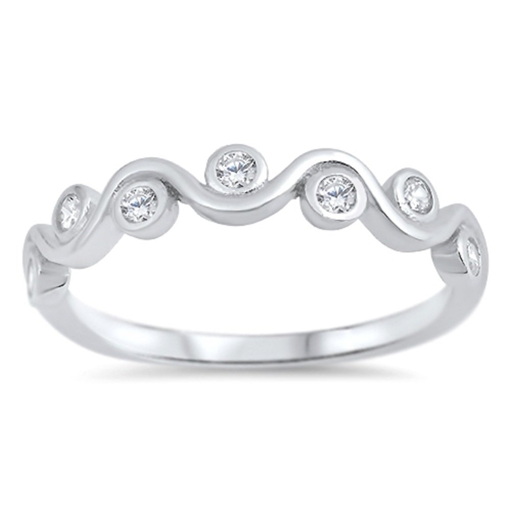 Clear Cubic Zirconia Swirl Design Ring 925 Sterling Silver Size 8