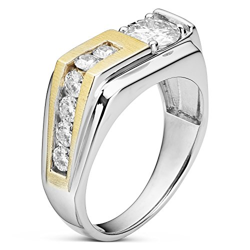 Forever Classic Men�s Round 6.5mm Moissanite Wedding Band-size 12, 1.60cttw DEW By Charles & Colvard by Charles & Colvard (Image #1)