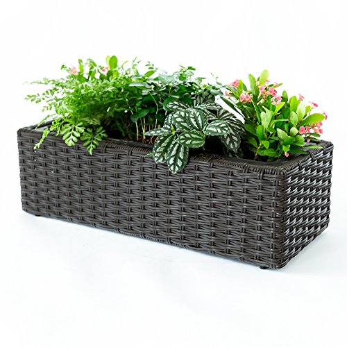 C-Hopetree Flower Succulent Planter Pot Plant Box Container for Indoor or Outdoor, Woven Hanging Patio Garden Plant Pot Brown, 1 Pot (Planters For Garden Patio)