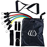 11 Piece Resistance Band Set - with 5 Bands, Comfortable Handles, Door Anchor and Carry Case - Train Anywhere