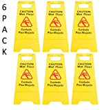 6 Pack Restaurant Caution Wet Mop Bucket Floor Yellow Folding Sign Commercial