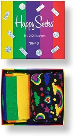 Happy Socks Calcetines Coloridos y Alegres Pride Gift Box 2-pack Algodón -Multicolor -41-46