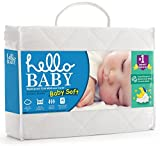 Hello Baby Waterproof Crib Mattress Cover - Ultra Soft White Bamboo Terry Fitted Sheet Style Protector