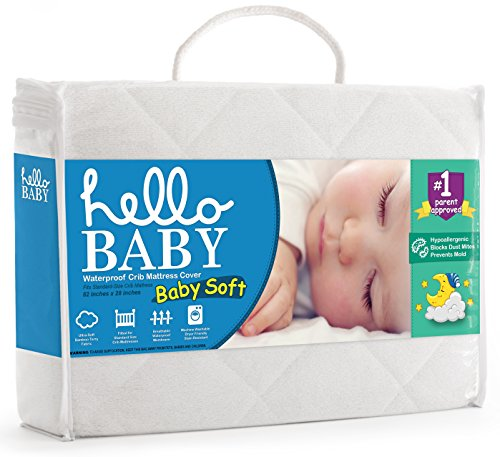 Hello Baby Waterproof Crib Mattress Cover- Quilted Ultra Soft White Bamboo Terry Fitted Sheet Style Blanket-like Pad- Top Infant Boy/Girl Bed Protector- Toddler, Kids, Boys/Girls Bedding Sheets (Baby Cot Mattress)