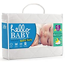 Hello Baby Waterproof Crib Mattress Cover- Quilted Ultra Soft White Bamboo Terry Fitted Sheet Style Blanket-like Pad- Top Infant Boy/girl Bed Protector- Toddler, Kids, Boys/girls Bedding Sheets Set