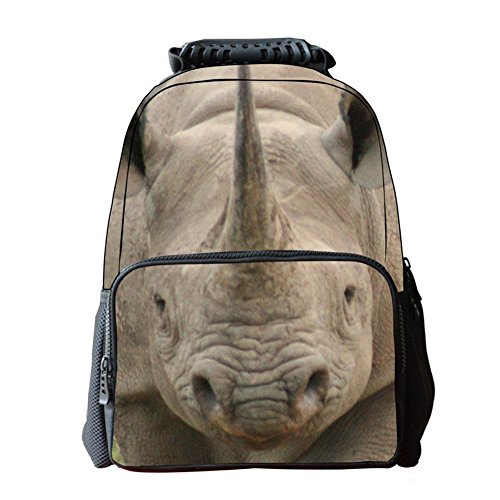 Unisexo Bolsas Escolar Animal Print 3D Tela de Fieltro Mochilas de Senderismo Rinoceronte