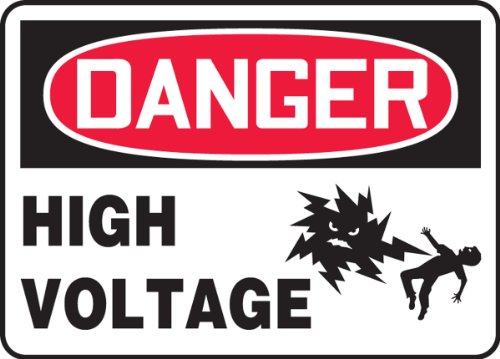 """Accuform Signs MELC132VP Plastic Safety Sign, Legend """"DANGER HIGH VOLTAGE"""" with Graphic, 7"""" Length x 10"""" Width x 0.055"""" Thickness, Red/Black on White"""