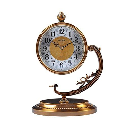 ZAZAZA Health UK Clock- Clock American Antique Classical Mute Sitting Bell Metal Copper Plated Desktop Clock Welcome by ZAZAZA