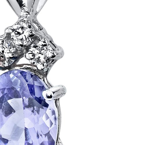 Or blanc 14carats forme ovale Tanzanite-Diamant 0,75carats