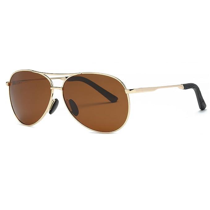 1206e742e5 kimorn Polarizado Gafas De Sol Hombre Estilo Piloto Marco De Metal Unisexo  Lentes K0583 (Oro&Marrón