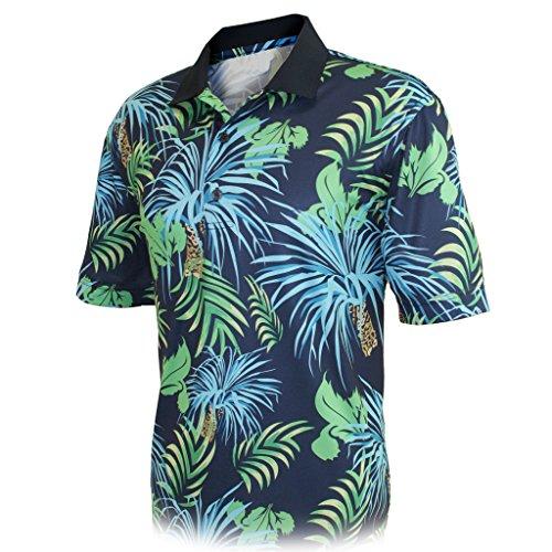 Monterey Club Mens Dry Swing Palm Tree Print Polo Shirt #1533 (Navy/Kelly Green, 3X-Large)