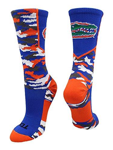 TCK Sports University of Florida Gators Woodland Camo Crew Socks (Royal/Orange/White, Small)