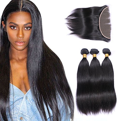 - 3 Bundles with Frontal 13x4 Ear to Ear Lace Closure Extensions Unprocessed Human Hair Brazilian Straight Virgin Hair Weaves Natural Color(12 14 16with10)