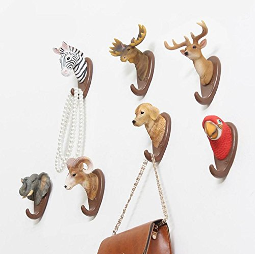 Hot Sale! Vintage Home Decor Wall Hanger Retro Cafe Bar Shop Wall Hanging Animal Stereo Deer Head Coat Hooks Home Clothes Hat Hooks (One Size, Elephant)