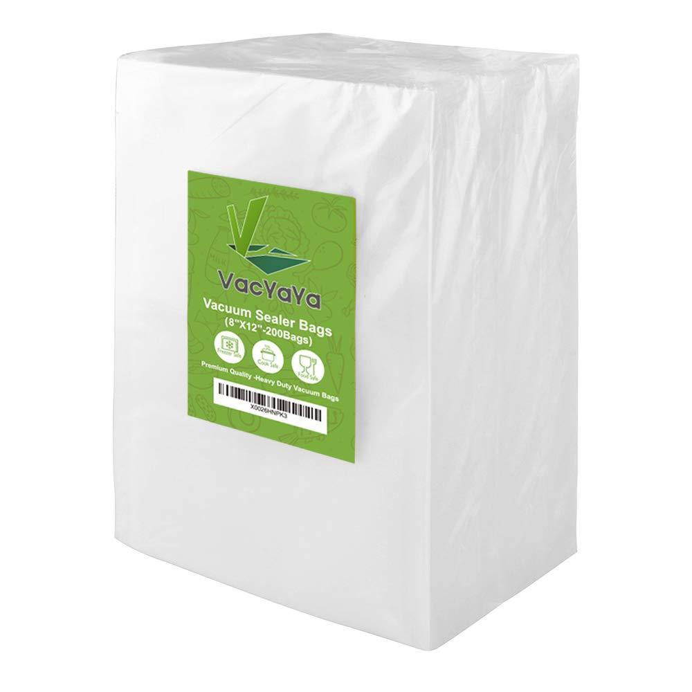 Premium!! VacYaYa 200 Quart Size 8 x 12 Inch Vacuum Sealer Freezer Storage Machine Bags for Food Saver,Vac Seal a Meal Bags with BPA Free Sous Vide Vaccume Seal Safe PreCut Bag