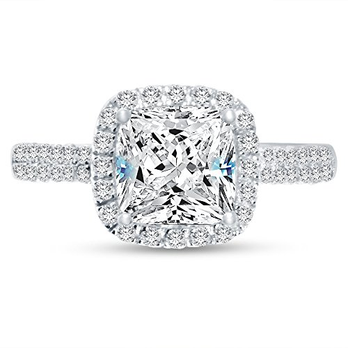 Cushion Cut Center (Size - 7.5 - Solid 925 Sterling Silver Cushion Cut Halo Solitaire Engagement Ring CZ Cubic Zirconia (2.50cttw., 2.0ct. Center))