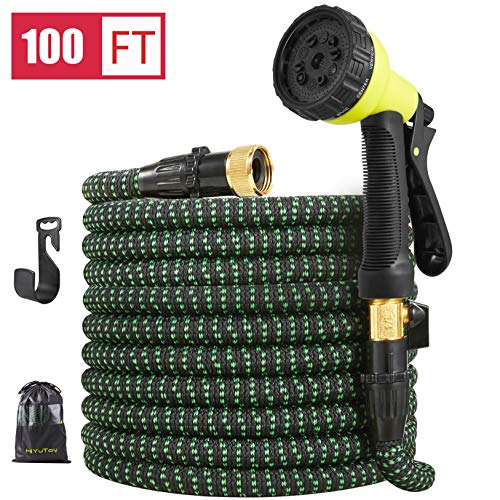 HiYuToy Garden Hose-100ft Expandable Hose – Heavy Duty Flexible Leakproof Hose-10-Pattern High-Pressure Water Spray Nozzle & Bag & Plastic Holder.No Kink Tangle-Free Pocket Water Hose