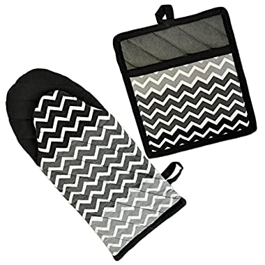 DII 100% Cotton, Machine Washable, Everyday Kitchen Basic, Chevron Printed Oven Mitt and Pot Holder Gift Set, Black