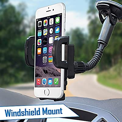 2-in-1 Universal Car Mobile Cell Phone Mount, Holder + FREE USB CHARGER ADAPTER, Air Vent and Windshield Mount, Fits Apple iPhone 6, 6 plus, 5, 5s, 4, 4s, Android Samsung Galaxy S6, S5, S4, Samsung Galaxy Note 4, 3, 2, HTC One, Nexus 4, LG Nexus 4, Nokia