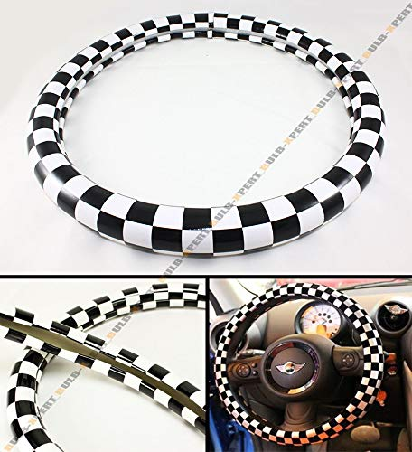 Tuesnut JCW Checkered Flag Style PU Ra Steering Wheel Cover 15'' Diameter for Mini Cooper S R52 R53 R54 R56 R57 R58 Steering Wheel