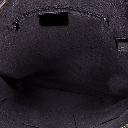 Gris cm ITALY de VERA shopping PELLE bag cuero piel FIRENZE 42x42x5 Bolso Oscuro NEGRO auténtica GRANDE Color ITALIANA grabado IN genuino mujer MADE cocodrilo ARTEGIANI Bolso nTxFIIaS1