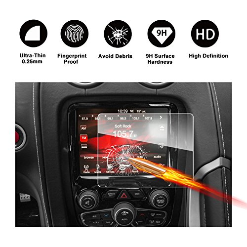 2013-2017 Dodge SRT Viper Uconnect 8.4-Inch Touch Screen Car Display Navigation Screen Protector, RUIYA HD Clear TEMPERED GLASS Car In-Dash Screen Protective Film (Viper Dodge Keychain)