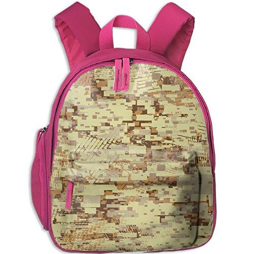 Kids'Camouflage Desert Block Canvas Preschool Backpack - Integrated Tablet Sleeve - Folder Desert Camo