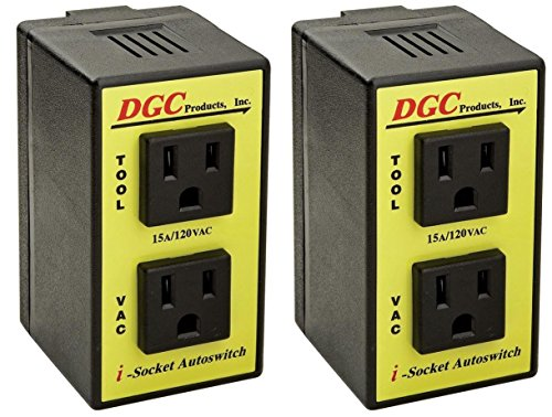 DGC PRODUCTS i-Socket Intelligent Autoswitch with ports for Power Tool and Vacuum; PATENTED TECHNOLOGY delays Vacuum Turn-On/Off to Prevent Circuit Overload, Eliminating Circuit Breaker Tripping