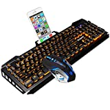 SADES keyboard and mouse sets,wired keyboard with,orange lights and mouse with 4 adjustable DPI for gaming,for PC/laptop/win7/win8/win10