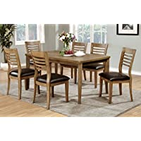 Furniture of America Dekina 7-Piece Transitional Dining Set, Natural Finish
