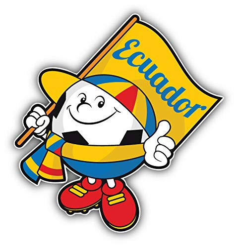 (Magnet Cartoon Ecuador Flag Soccer Ball Mascot Vinyl Magnet Bumper Sticker Magnet Flexible Vinyl Magnetic)