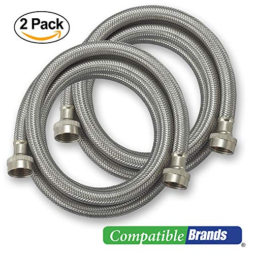Washing Machine Hoses Burst Proof 6 Ft Stainless Steel Braided - 2 Pack